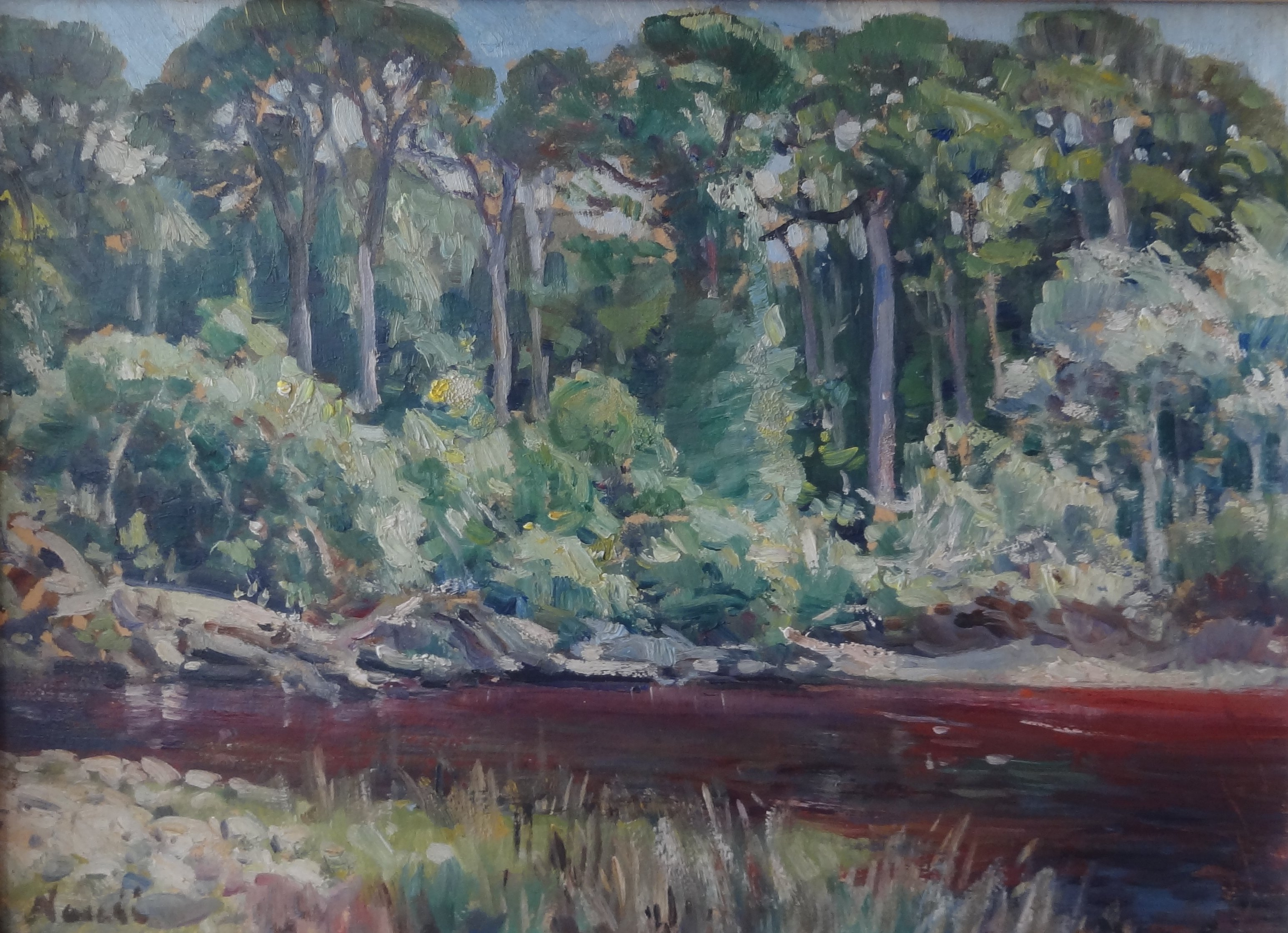 Hugo-Naude-ZTrees-at-River-oil-on-board-26-x-25cm (1)