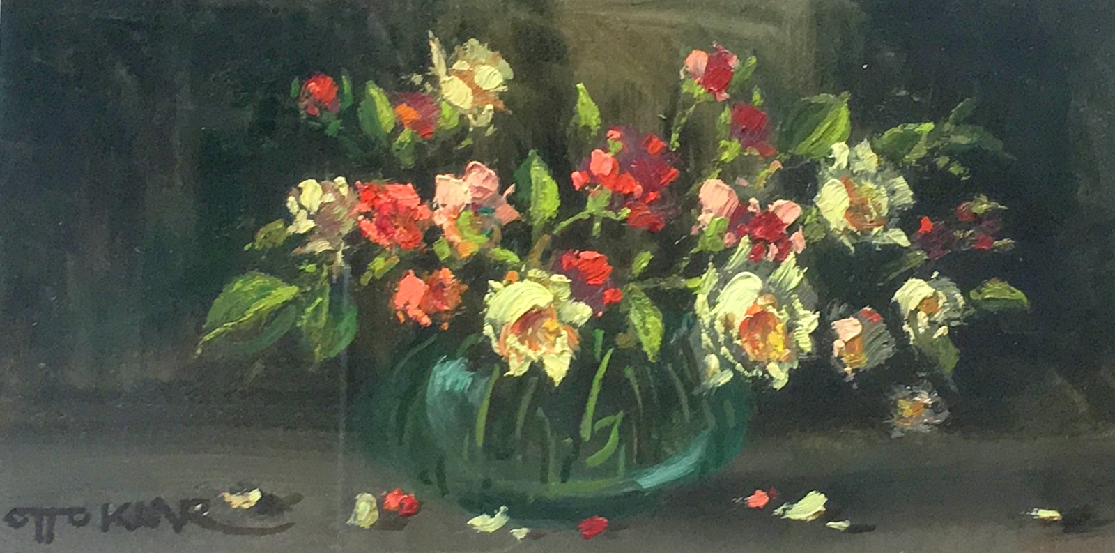Otto-Klar-Flowers-Red-Orange-and-Yellow-Oil-on-board-125-x-245mm-Absolut-Art-Gallery